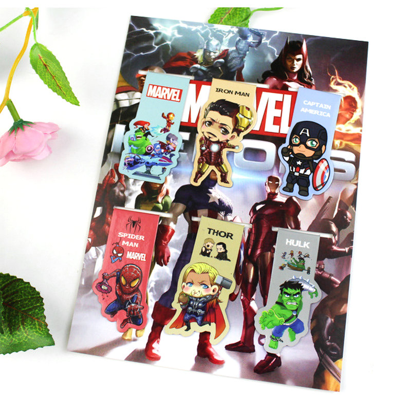 6pcs The Avengers Magnetic Bookmark Magnet Bookmark Child Student Kawaii Gift Bookmarks Office Stationery