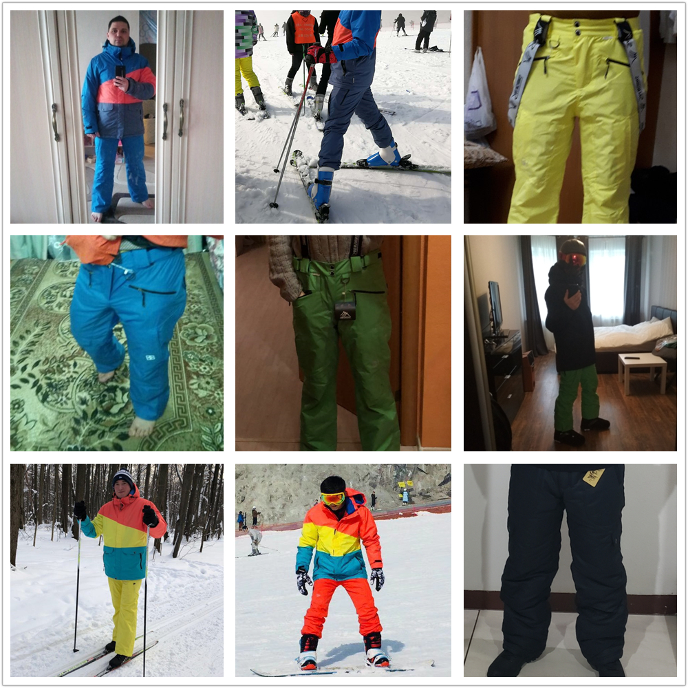 SAENSHING Winter Ski Pants Men Warm Strap Waterproof Snowboard Pants for Male Thicken Snow Trousers Thermal Breathable Skiing 4