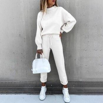 Tracksuits Women's Fleece Sweatshirt Sets Lantern Sleeve Pullover Drawstring Pants Set Clothing Women 2020 Autumn Sportswear 1