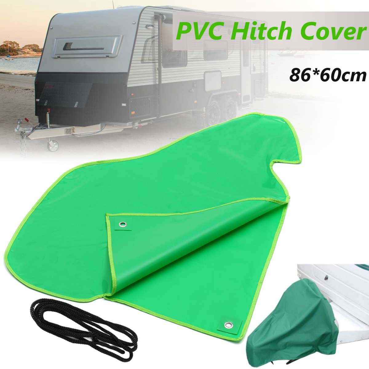 Green Color PVC Car Waterproof Trailer Towing Hook Connector Hitch Cover For Caravan Tailer Hitch Coupling Lock Dust Protect