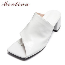 Meotina Women Slippers Genuine Leather High Heel Slides Square Toe Block Heels Flip Flops Shoes Lady Summer Causal Sandals White women slippers block high heels belt buckle slippers summer slides platform sandals women shoes slip on flip flops dropshipping