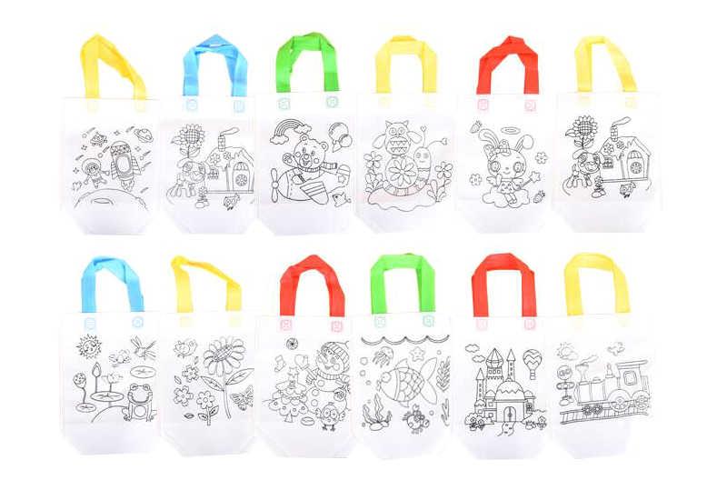6 piezas antiestrés puzles juguete educativo para niños DIY respetuoso con el medio ambiente Graffiti bolsa Kinder mano pintura materiales GYH