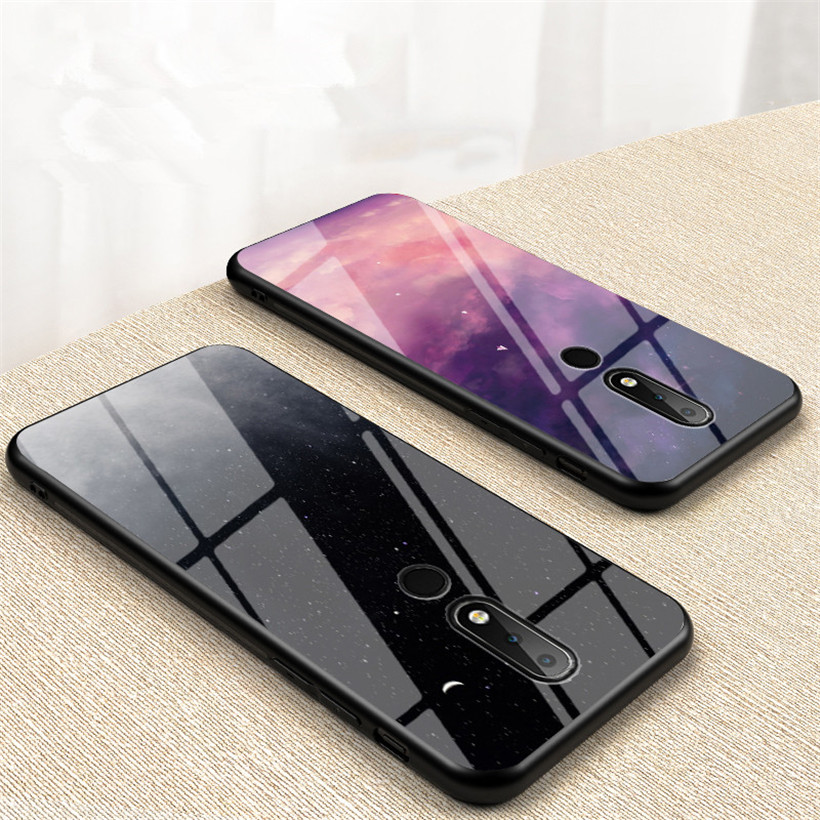 Tempered <font><b>Glass</b></font> <font><b>Case</b></font> For <font><b>Nokia</b></font> 7.1 <font><b>Case</b></font> For <font><b>Nokia</b></font> X71 X7 X6 4.2 1 <font><b>6.1</b></font> Plus 9 7 8 Sirocco Luxury Starry Sky Protective Phone Cover image