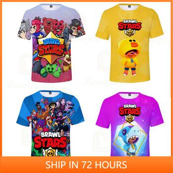 Leon odzież dziecięca Sandy Max Bull i gwiazda bluzki z krótkim rękawem chłopcy odzież dziecięca koszulka strzelanka 3d chłopcy dziewczęta Harajuku Fashion tanie i dobre opinie FORTNITE CN (pochodzenie) 25-36m 4-6y 7-12y 12 + y POLIESTER Movie Anime Gaming Cosplay 3D Digital Printed Slant Patch Pocket