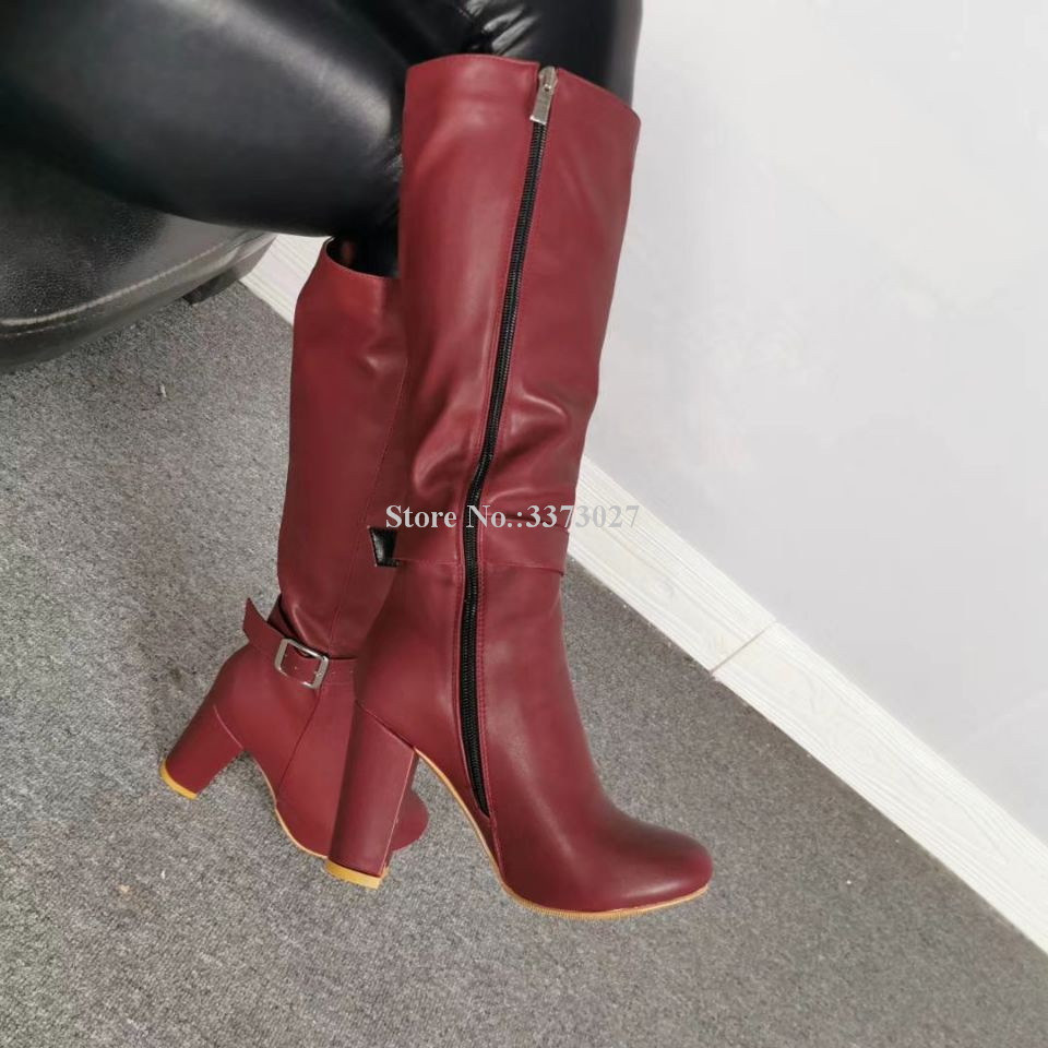 Wine Red Leather Chunky Heel Long Boots Women Fashion Buckle Strap Thick Heel Knee High Boots Lady Real Photos Banquet Shoes