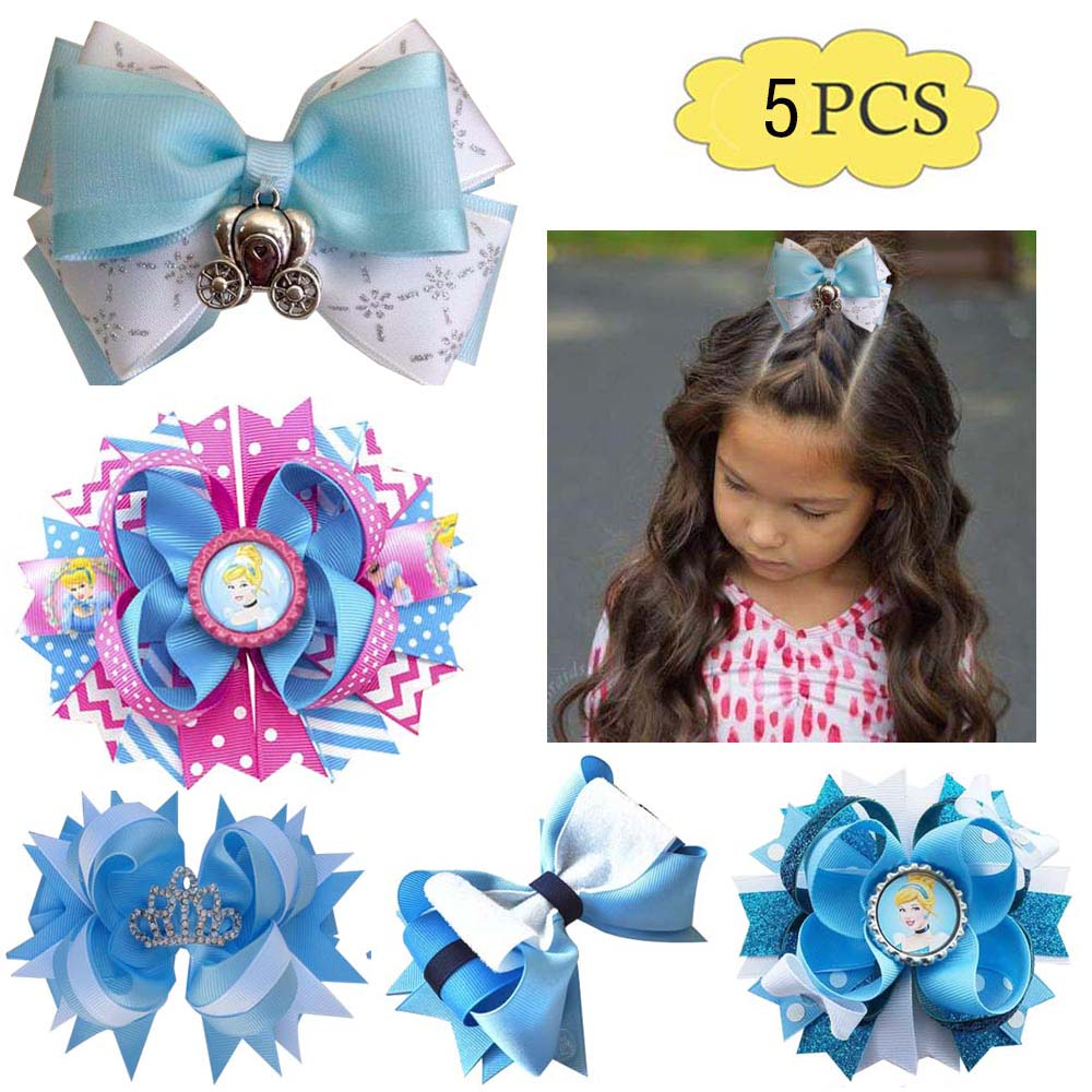 """5/"""" Handmade Navy And Gold Stacked Boutique Hair Bows"""