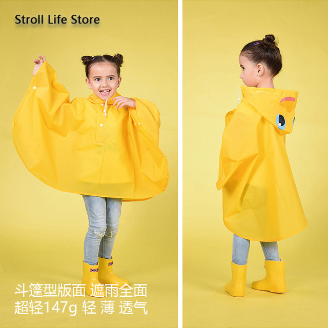 Cartoon Kids Raincoat Yellow Rain Poncho Girls and Boys Children Pink Rain Coat Jacket Partner Capa De Chuva Birthday Gift Ideas