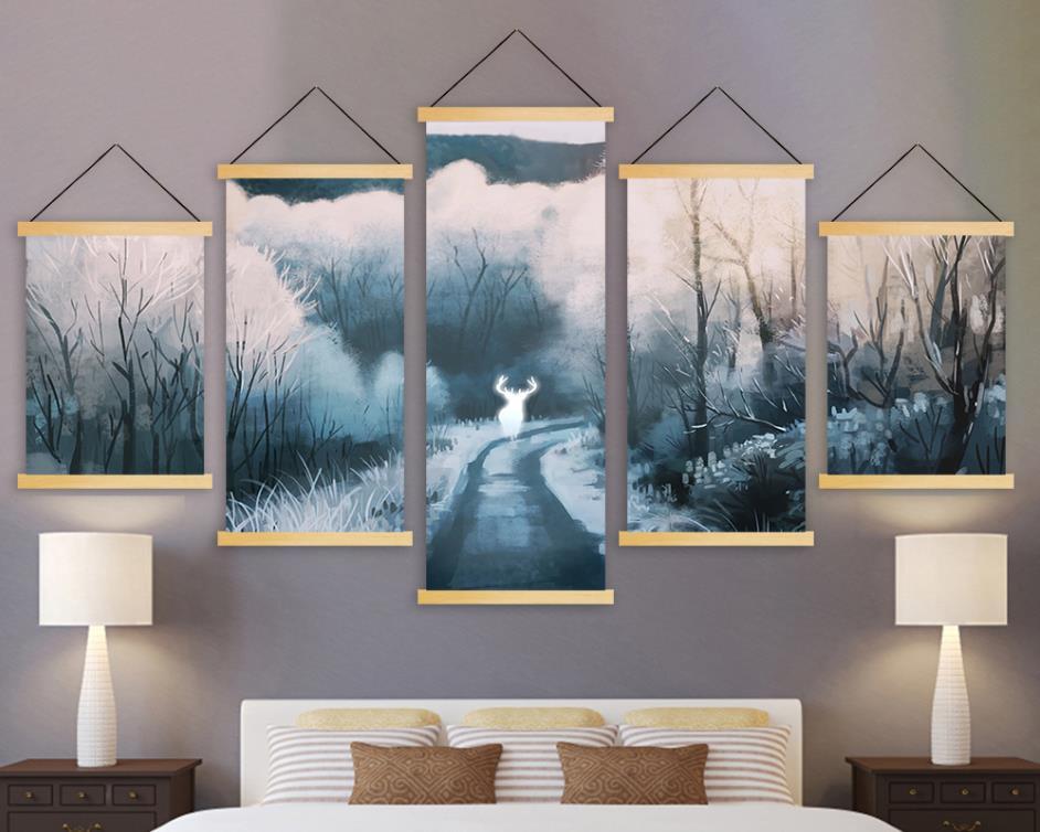 Холст настенное Искусство Современная печать живопись 5 панель Лесной Олень Плотный туман твердая древесина висящая картина прокрутка пла