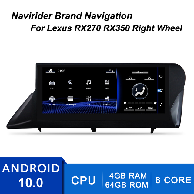 Car Android 10.0 Screen For Lexus RX450h 4wd 2013 Rx270 2012 RX450 RX350H Rx350 GPS Navi Stereo Radio Tape Recorder Head Unit