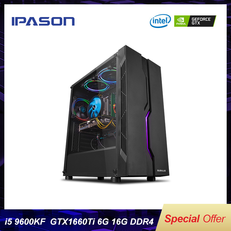 IPASON Gaming Computer PC Intel i5 9400F Upgrade into 9600KF/GTX1660TI 6G DDR4 16G RAM 256G SSD High-End Desktop E-sport Device image