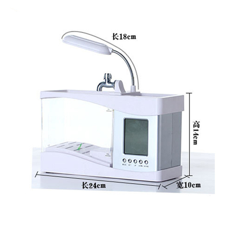 Tank Aquarium Mini Fish Tank Turtle Tank USB Desktop Creative LED Light Ecological Water Pump Cylinder with Clock
