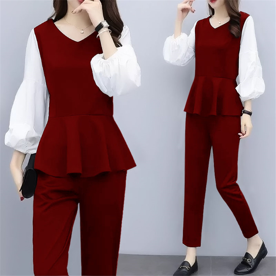 2019 NEW L-5XL Lantern Sleeve Women Tops With Pants Fashion Elegant Women Two Piece Set Office Lady