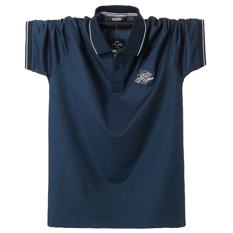Plus 6XL 5XL XXXXL Short Sleeve Shirt Pathwork Casual Sport Top Blouse Embroidery Breathable Cotton Stitching Polo Shirt 2020