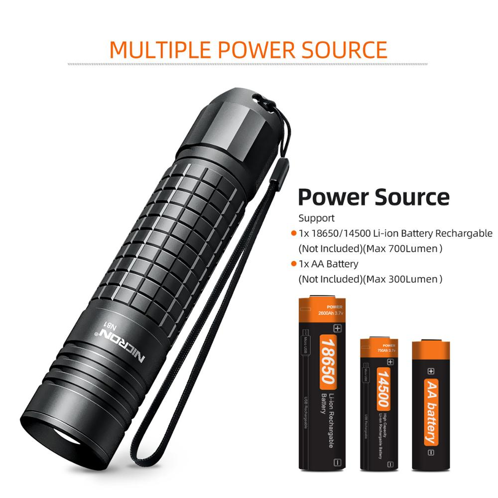 Image 4 - NICRON Zoomable LED Flashlight Dual Fuel 18650 / AA Battery 700LM IPX4 Waterproof 5 Modes For Riding Outdoor LED Torch Light N81-in Flashlights & Torches from Lights & Lighting
