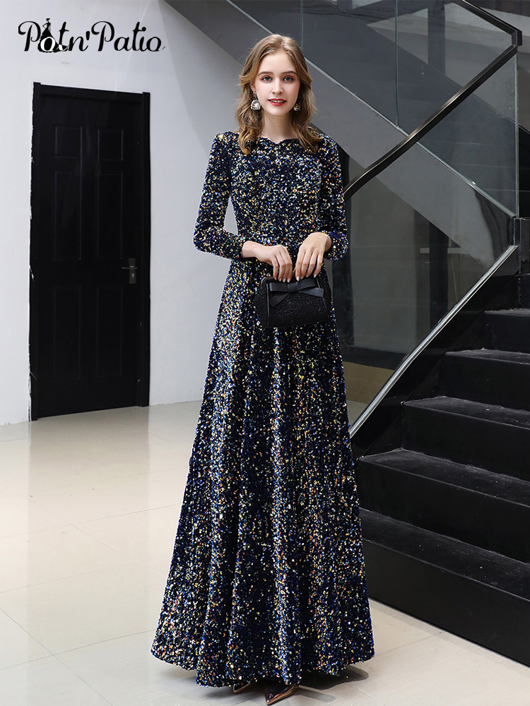 Long Sleeves Prom Dresses 2020 New Elegant A-line Floor-length Sequin Women Formal Gowns Plus Size For Evening Party