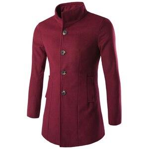 Image 4 - Helisopus mężczyźni długi płaszcz moda kurtka z wełny 2020 wiosna jesień stanąć kołnierz mieszanki wełny czarny płaszcz