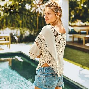 Image 2 - Cupshe 아이보리 크로 셰 뜨개질 라운드 트림 커버 여자 위로 섹시한 컷 아웃 비치 탑 2020 여름 수영복 여성 beachwear