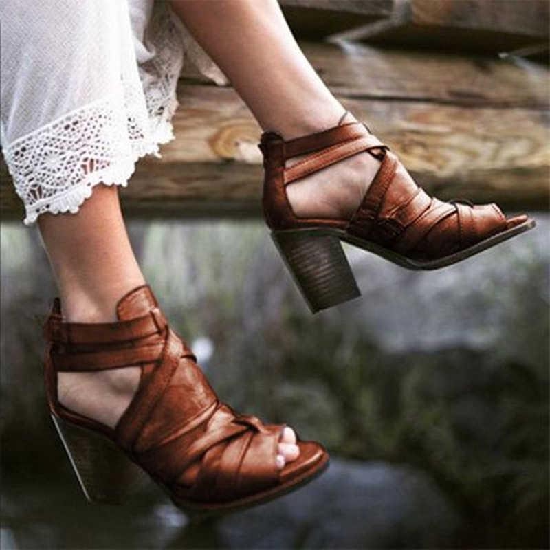 נשים קיץ רוכסן Crose קשור שמנמן עקבים אישה עור מפוצל רטרו סנדלים פתוחים נשי אבזם רצועה מזדמן אופנה נעליים