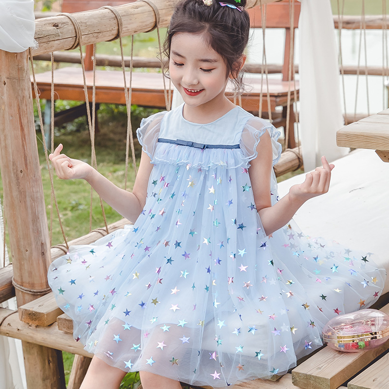 2020 Summer Baby Girls Dress Fashion Children's Wear Girls Cute Sleeveless Stars Princess Mesh Frocks Kids Clothing For Party 2
