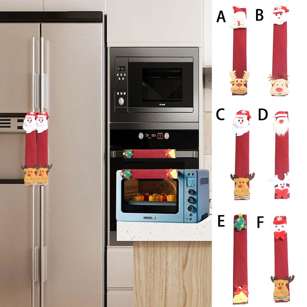 Christmas Microwave Oven Door Handle Cover Fridge Covers Anti-static Decorations