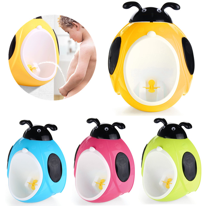 Baby Boy Wall Mounted Urinal Cute Cartoon Hook Baby Potty Training WC Child Boy Standing Urinal Portable Plastic Infant Toilet image