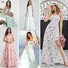 Casual Floral Printed Chiffon Maxi Dress Women A-Line Sleeveless Side Split Women Dress Sexy Summer Party Dress Robe Femme 2020