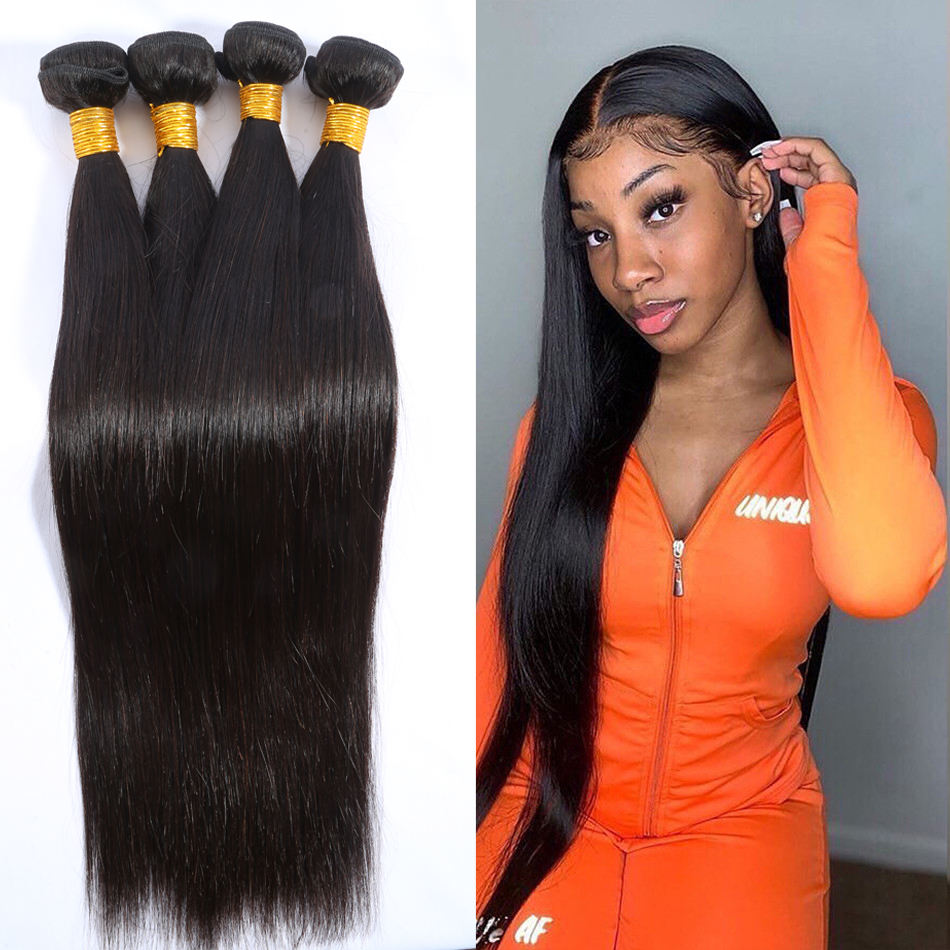 Straight Raw Virgin Human Hair Weave Bundles Peruvian Virgin Hair 3/4 Bundle Deal Natural Color Human Hair Extensions