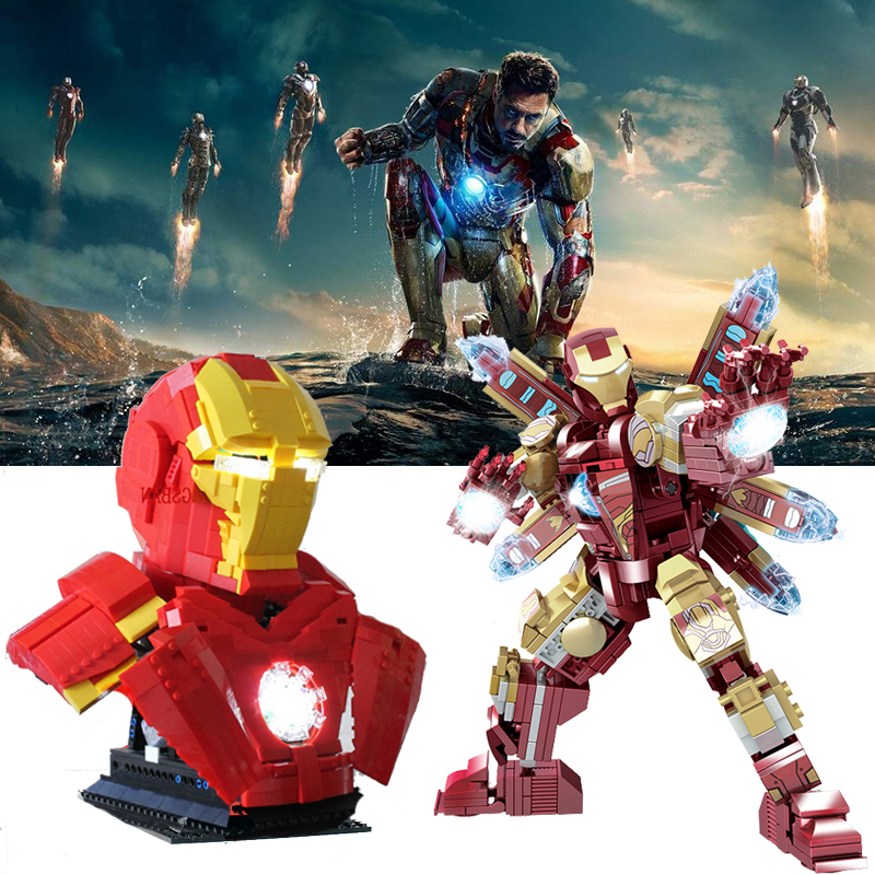 LED Marvel Movie Avenger Super Hero Figures Iron Man Laboratory MK85 Iron Man Armor Techinic RC Building Blocks Child Toys Gifts
