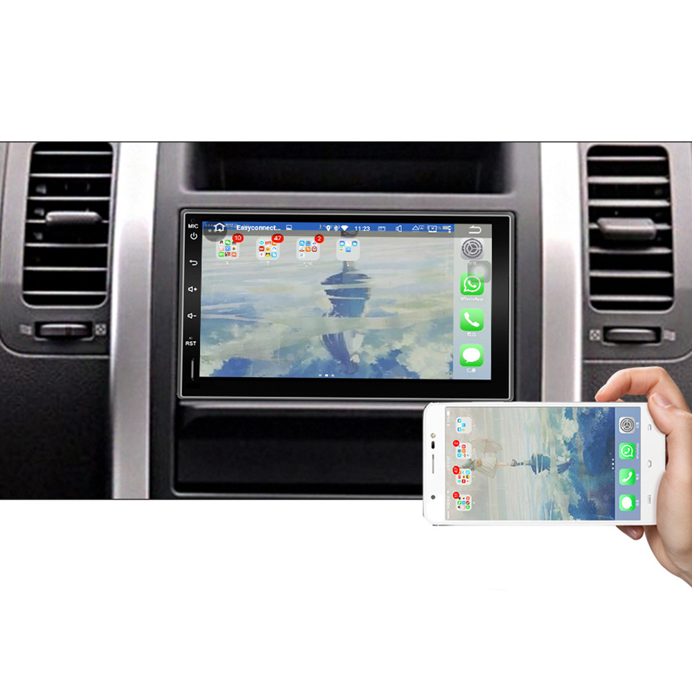 EU lager Eunavi 2 din Universal Android 9,0 Auto Radio stereo PC multimedia Player GPS 1024*600 touch screen IPS TDA7851 2DIN