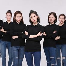 Женские рубашки поло с длинным рукавом 15 Soild цвета женские рубашки поло женские дышащие размер плюс поло Топ повседневные рубашки для женщин