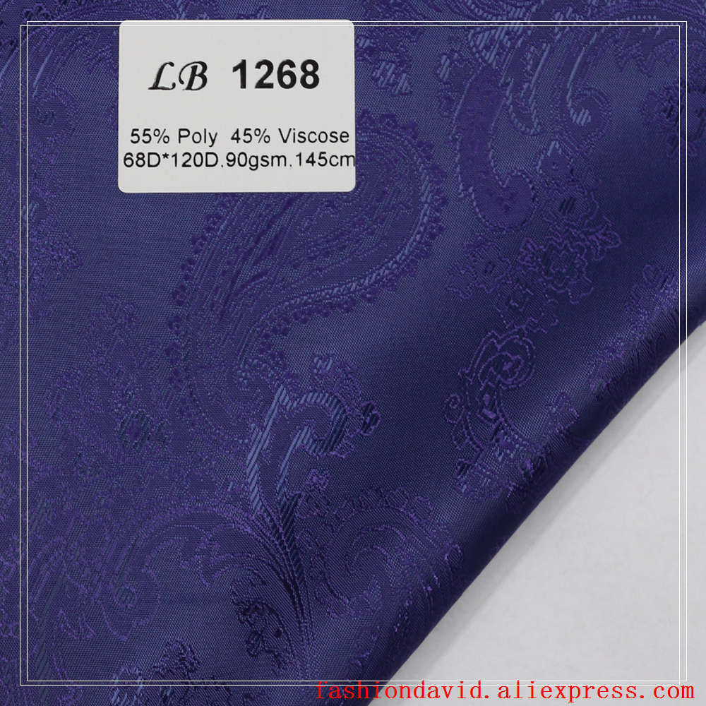 Taffeta Clothing Fabric Lining 100cm*150cm 55% Polyester 45 % Viscose Jacquared Purple Paisley Flower For Dress Suit Coat Box