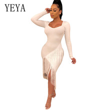 YEYA Autumn Black White Fringe Celebrity Runway Party Dress Women Sexy Tassels Long Sleeve O-neck Hollow Out Club Dress Vestidos