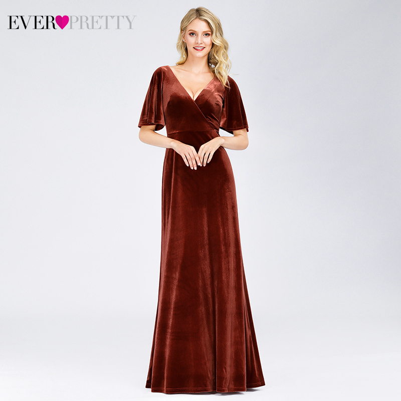 Sexy Velour Prom Dresses Ever Pretty A-Line Double V-Neck Short Sleeve Ladies Formal Evening Party Gowns Vestido Formatura 2019