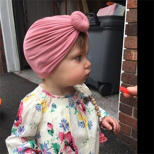 Image 3 - Turban Baby Girls Hats Knot Beanie Headband For Children Headwraps Donut Bonnet Toddler Baby Hats Photography Props KIDOCHEESE
