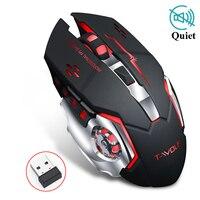 Silencioso Jogo Do Rato sem fio 2400DPI Recarregável Jogos de Computador LED Optical Jogo Mouse USB Rato LOL para Pro Gamer laptop PC
