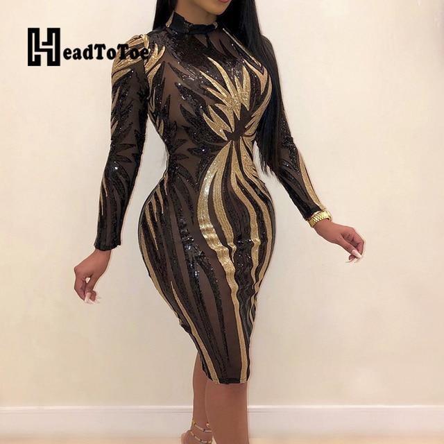 Glitter Mock Neck Long Sleeve Sequins Bodycon Dress Women Colorblock Sexy Skinny Party Dress 3