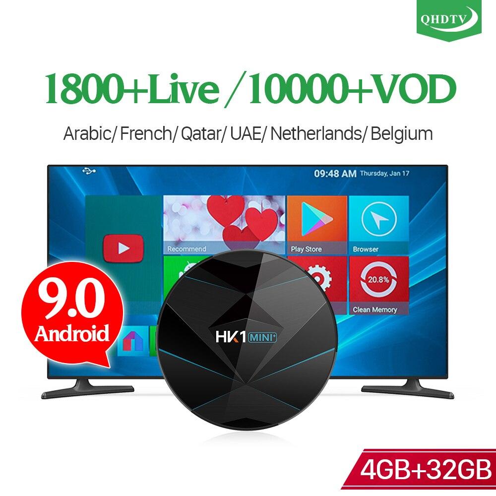 QHDTV IPTV France Arabic 1 Year IP TV HK1 MINI+ Android 9.0 4G+32G BT Dual-Band WIFI Subscription