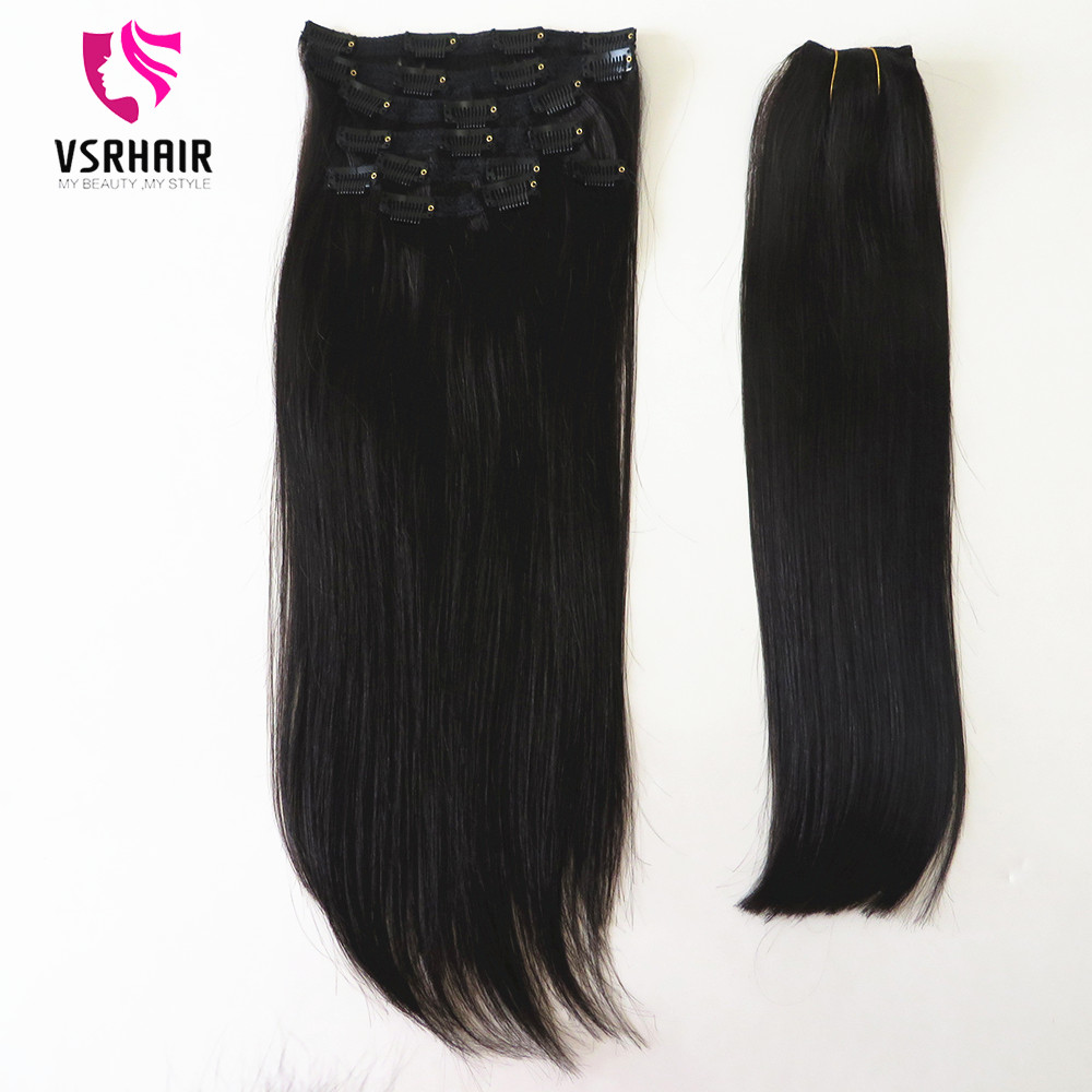 VSR Machine Remy Hair Extensions Hair Bottom Natural Clips Ins Human Hair Clip In Hair