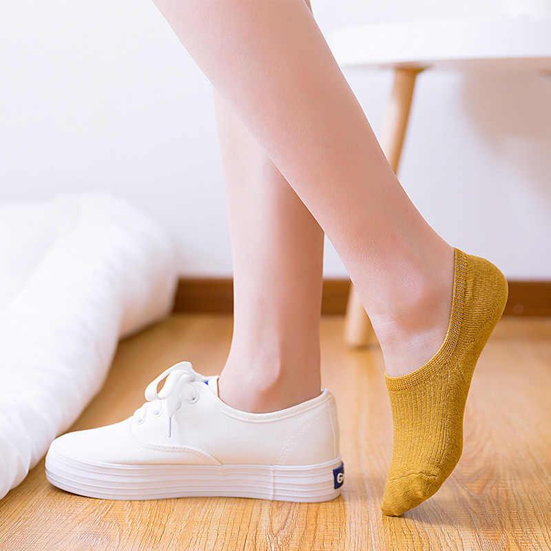 Femmes coton Invisible sans spectacle chaussettes anti-dérapant été bonbons couleur unie Silicone chaussettes courtes mode mignon mince cheville bateau chaussettes