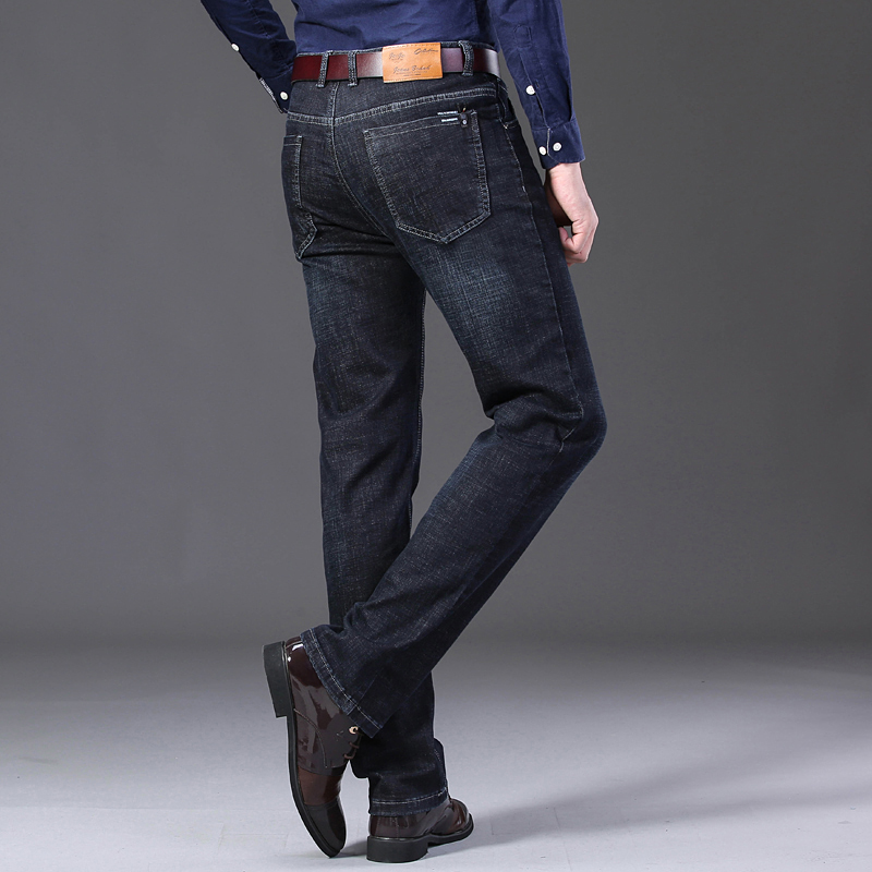 KSTUN Winter Jeans Men Black Jeans Business Casual Classic Direct Straight Long Trousers Businessman Gentlemen Denim Jeans Men 15