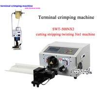 Máquina de torção automática do corte do descascamento do fio com o jogo de friso terminal automático da máquina ferramenta com faca 220v 110v