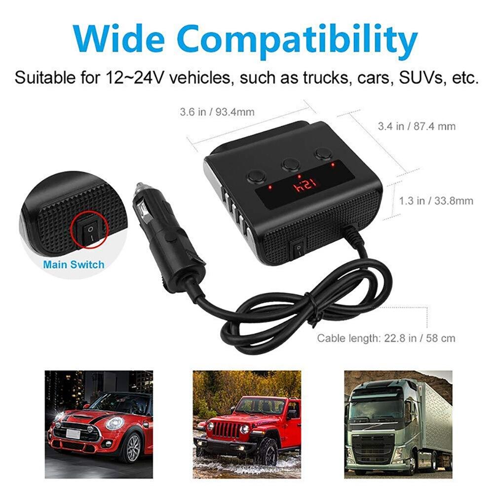 lowest price 3 Way Car Cigarette Lighter Adapter 12V-24V Socket Splitter Plug LED 4 USB Charger Adapter 2 4A 100W For Phone MP3 DVR
