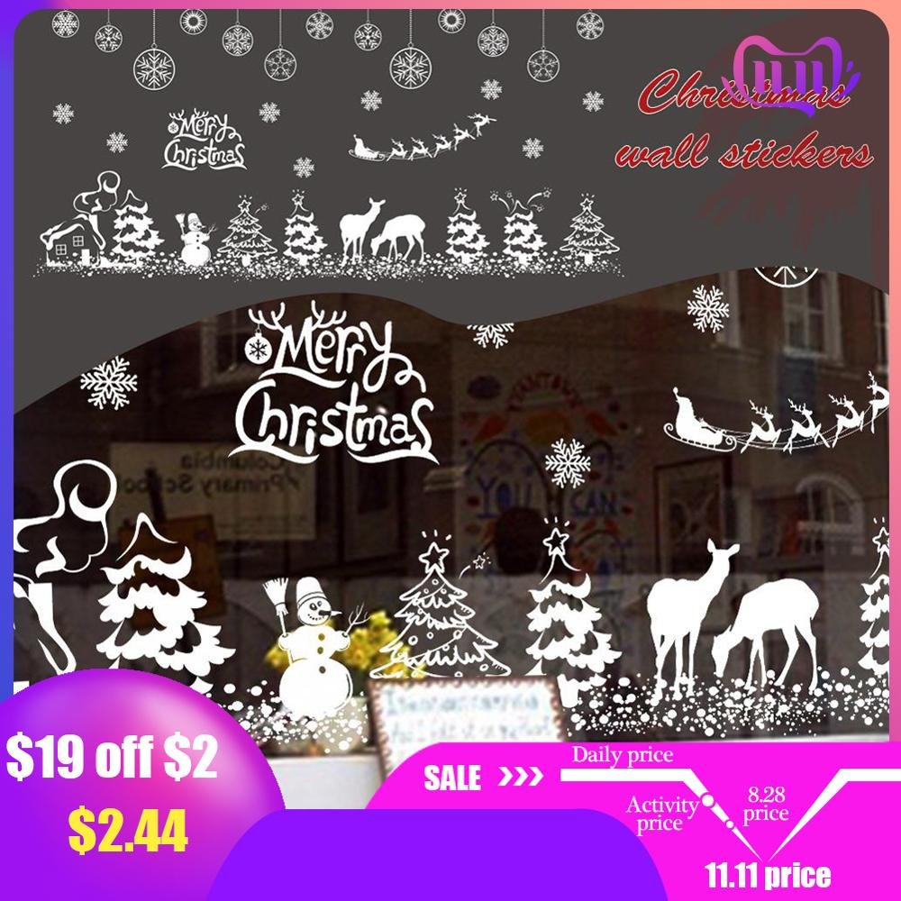 DIY White Snow Elk Christmas Wall Stickers Window Glass Festival Decals Murals New Year Christmas Decorations For Home Decor