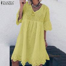 ZANZEA Summer Bohemian Lace Crochet Sundress Women Flare Sleeve Cotton Linen Dress Casual Hollow Out Solid Vestido Party Dresses