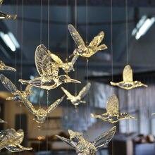 Pendentif oiseau en acrylique cristal clair, décoration d'arbre de noël, fête à domicile, décoration de scène de mariage, 5 pièces
