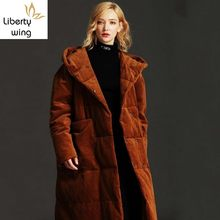 New Hooded Corduroy Coat Female Winter Thick Warm Plus Long Duck Down Jacket Women Oversize 5XL Brand Outerwear Ladies(China)