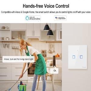 Image 3 - Сенсорный настенный выключатель SONOFF со стеклянной панелью, штепсельная вилка европейского и американского стандарта, Wi Fi, беспроводной пульт дистанционного управления, 1 клавиша, 1 канал, реле Google Smart Home