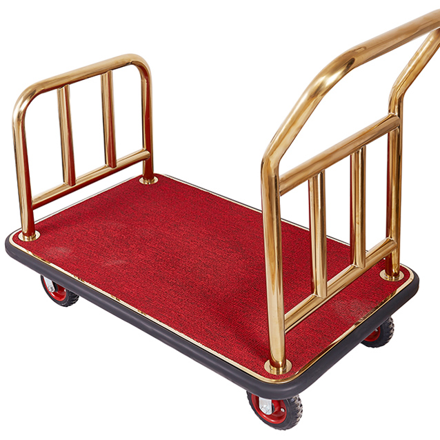 Hotel Luggage Cart Lobby Stainless Steel Handling Flatbed Trailer Airport Mute Wheel Trolley Car Delivery Trolley