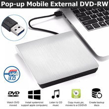 Drive de DVD externo USB 3.0 Portátil CD DVD RW Drive Óptico Gravador de Escritor Leitor Compatível Para Windows 10 Laptop Desktop iMacs