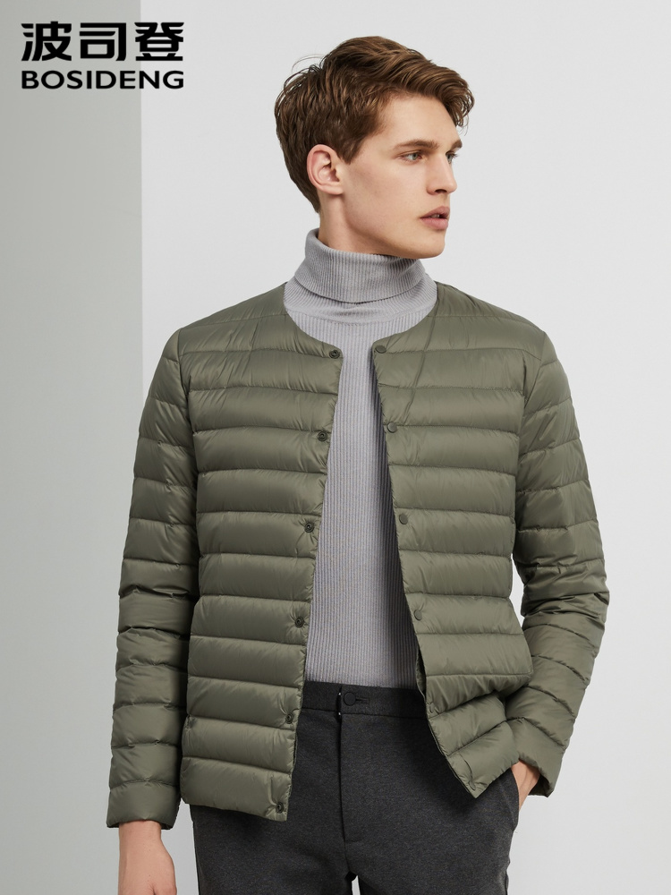 BOSIDENG Men Duck Down Jacket Ultra Light Down Coat O-neck High Quality Basic Winter Wear Office B90130005